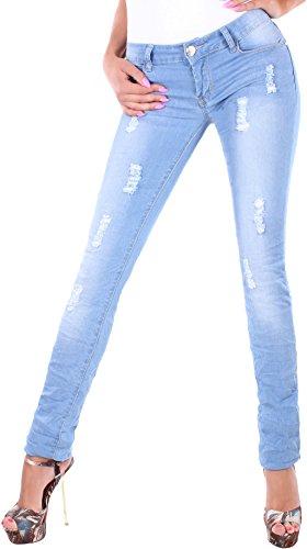 Black Denim BD Damen Jeans Röhrenjeans Hose Hüftjeans Stretch in blau mit Rissen im Knitterlook 36S (Denim Black Skinny Jeans)