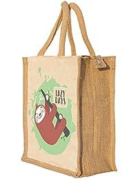 Nisol Cute Sloth Classic Printed Lunch Bag | Tote | Hand Bag | Travel Bag | Gift Bag | Jute Bag