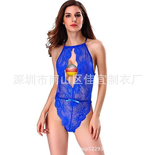 SexyCP Fun-Unterwäsche Erotische Kostüme für Damen Europäischen und amerikanischen Frauen europäischen und amerikanischen Spitzen sexy Pyjamas Mode lässig zu Hause Onesies blau (Kostüm Frauen Zu Hause)