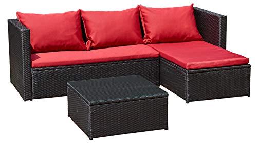Jet-Line Gartenmöbel Bergen III schwarz-rot aus Stahl Garten Polyrattan Rattan Lounge Set Neu Gartenausstattung -
