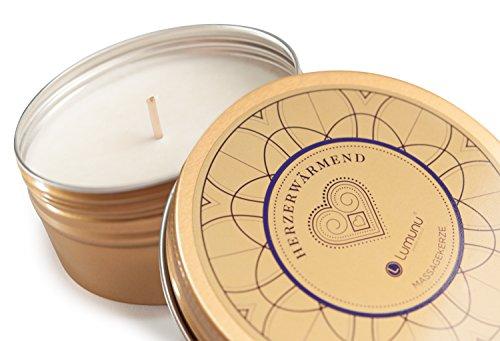 Deluxe Aroma Massagekerze Herzerwärmend, pflegendes Massagewachs in goldener Dose, Massage Duftkerze aus natürlichen Soja & Kokosölen - 6
