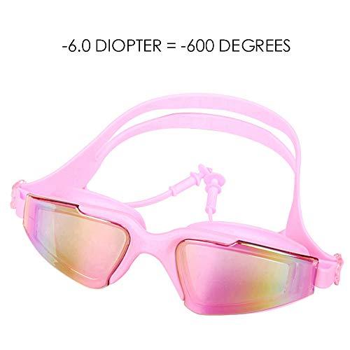 WAYPGC Kurzsichtige Schwimmbrille, verbundene Ohrstöpsel, HD Anti Fog UV und Keine undichten kurzsichtigen optischen Schutzbrillen, Kurzsichtigkeit -6,0, für Männer, Frauen und Kinder,Pink