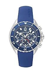 Nautica Mens NEWPORT Quartz Stainless Steel and Silicone Casual Watch, Color:Blue (Model: NAPNWP001)
