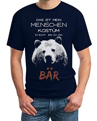 Menschen Kostüm in echt Bin ich EIN Bär Karneval Kostüm Herren T-Shirt X-Large Marineblau (Mann In Bären Kostüm)