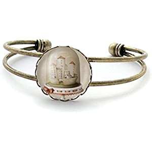 Armband mit cabochon, Stadt unter Glas