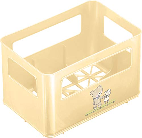 Rotho Babydesign Flaschenbox, Für 6 Flaschen, Design Beste Freunde, 21,5 x 14,5 x 13,6 cm, Vanille Perl, 300360101AZ