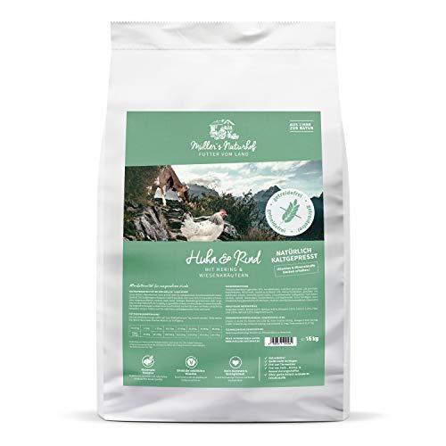 Huhn & Rind | 2 x 15 kg | Gartengemüse & Wiesenkräuter | Natürlich kaltgepresst | getreidefrei | Trockenfutter für alle Hunderassen | Traditionell hergestellt ()