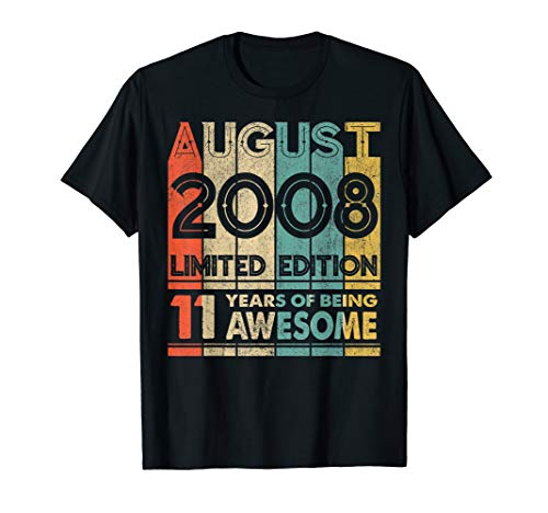 11. Geburtstag Geschenk. Legendär Seit August 2008 T-shirt T-Shirt -