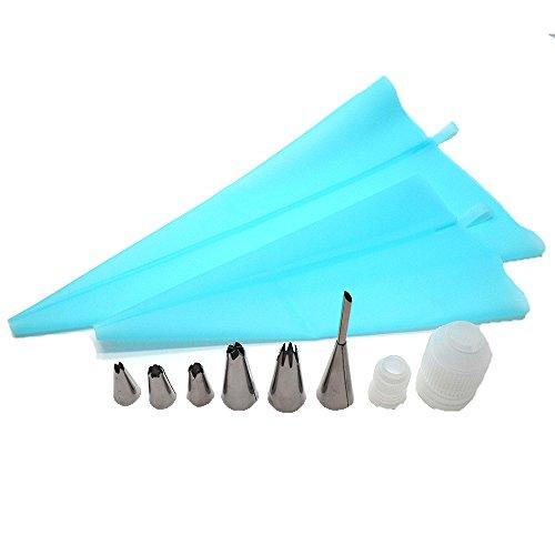 BTMB 10PCS Tortendekorationen Supplies Kit DIY Cupcakes Cookies Backen Werkzeug mit 7Zuckerguss Tipps, 2Silikon Backpinsel Staubbeutel (Backen-werkzeug-kit)