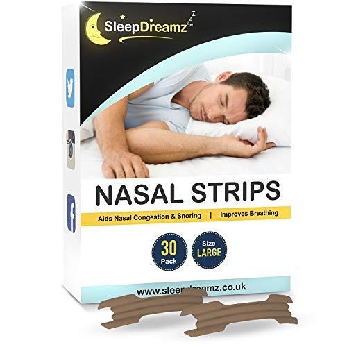 SleepDreamz - Tiras nasales grandes antironquidos para todos los tipos de nariz - Diseñadas contra la congestión nasal, respiración pesada, ronquidos y apnea del sueño- 30 unidades