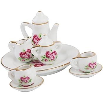 Lot 8pcs Ustensiles À Thé Porcelaine Coupe Plate Maison De Poupée