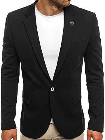 OZONEE Herren Sakko Business Anzug Kurzmantel BLACK ROCK 01/17 XS SCHWARZ