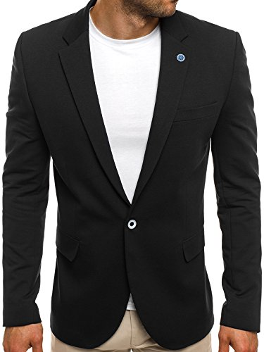 OZONEE Herren Sakko Business Anzug Kurzmantel BLACK ROCK 01/17 XL SCHWARZ