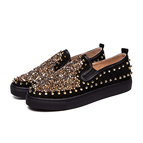 Men ' S Casual Shoes, Men ' S personalisierte Sequined Studded Shoes, Street Nightclub Fashion Shoes,Black,42 - Studded Schuh Stiefel
