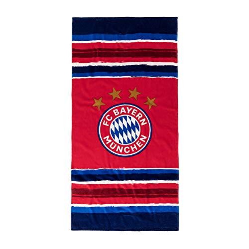 FC Bayern München Strandtuch Stripes, Badetuch 150 x 75 cm, Duschtuch FCB - Plus Lesezeichen I Love München