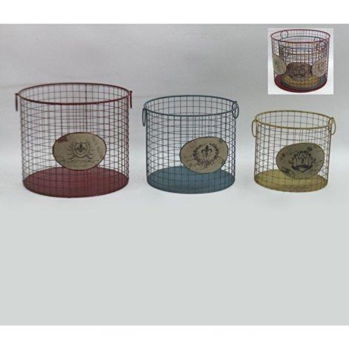 3er Set Vintage Metall Körbe Bunt