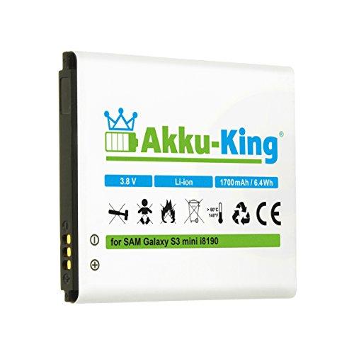 Akku-King Akku für Samsung Galaxy S3 mini i8190, Ace 2, GT-I8160, i8190n, S Duos S7562, S7580, Exhibit, Trend II - ersetzt EB-425161LU, EB-L1M7FLU - Li-Ion 1700mAh