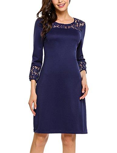 Zeagoo Damen Elegant Kleid Etuikleid mit Spitze Freizeit Partykleid 3/4 Ärmel Rundhals Knielang Blau XXL