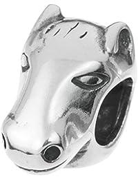 Abalorio de cabeza de caballo de plata de ley 925 para pulseras de abalorios europeas