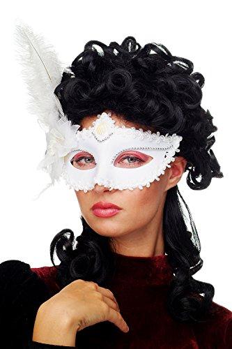 al Venezianische Maske Damenmaske Halbmaske weiß mit Federn Society Maskenball CMN-079 (Ursprung Des Halloween-maske)