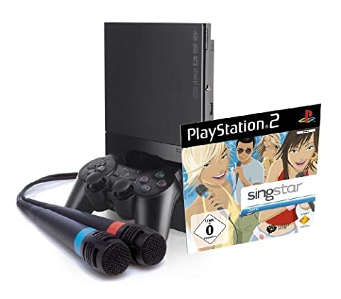 PlayStation 2 - PS2 Konsole Slim, black + SingStar Demo Disc inkl. Mics