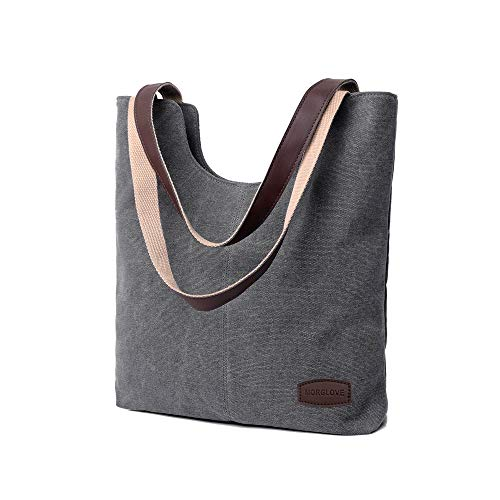 MORGLOVE Damen Vintage Canvas Umhängetaschen Freizeit Handtasche Groß Schultertasche Grau