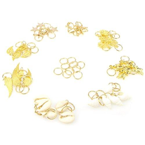 l Blätter Stern Conch Schneeflocke Anhänger Charms Ringe Set Haar Geflecht Ringe Haarspange Stirnband Zubehör, Packung mit 50 (Schneeflocke Ringe)