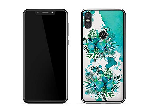 etuo Motorola One - Hülle Fantastic Case - Türkis-Orchidee - Handyhülle Schutzhülle Etui Case Cover Tasche für Handy