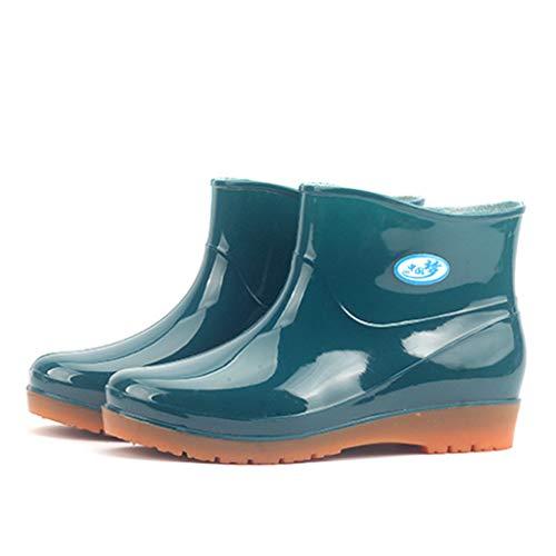 Riou Gummistiefel Damen Kurzschaft und Wasserdicht Verschleißfest Outdoor rutschfest Flacher mit Blockabsatz Regenstiefel Rain Boots