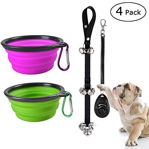 Onbet addestratore di cani per addestramento di animali domestici con set di 2 ciotole per cani pieghevoli e campanello per cani di alta qualità per animali domestici
