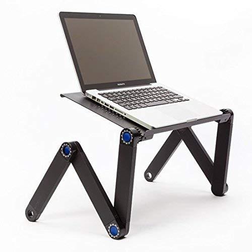 Technosmart Notebook Ständer Laptop Tisch Tablett für Bett Frühstück Ergonomisch Verstellbar Aluminium Schwarz, 54 x 27 x 5 cm