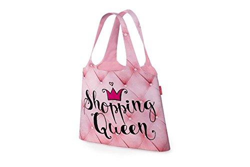 laVida 395471 Einkaufstasche Für Dich Motiv Shopping Queen zusammengefaltet mit Druckknopf