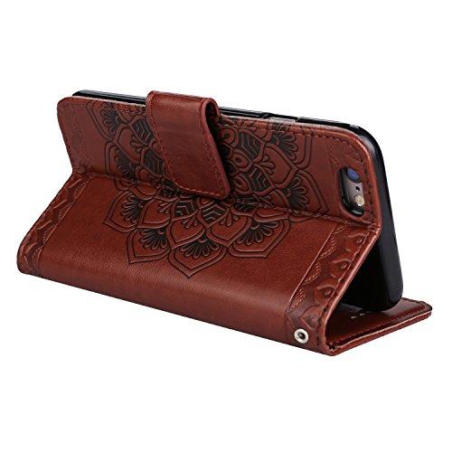 Für iPhone 5 5S SE 4Zoll Flip PU Leder Brieftasche, Herzzer Klassisch Jahrgang [Mandala Blume Muster] Tasche Handy Case Schutz Hüllen im Bookstyle Handyhülle Ledertasche mit Stand Funktion Kartenfäche Braun