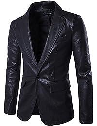 Chaqueta de Traje Cuero de La PU Blazer Traje de Un Solo Pecho Americana  para Hombre 3cc7764de0868