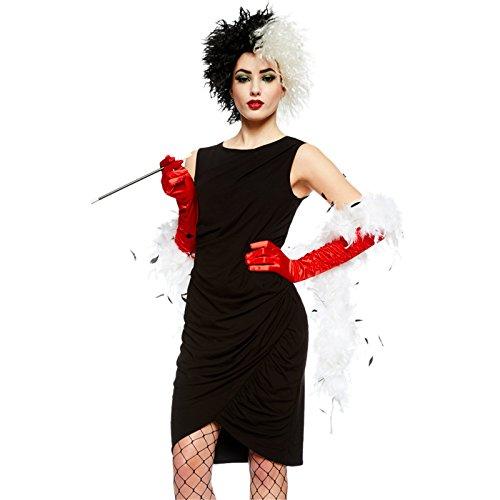 Party Delights Cruella De Vil Kostüm-Set 101 Dalmatiner- Perücke, Handschuhe & Zigarettenspitze