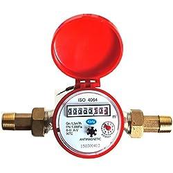 Medidor de flujo de agua la casa y el jardín 1,5 m³ / h conectores 15 mm 1,27 cm de agua fría