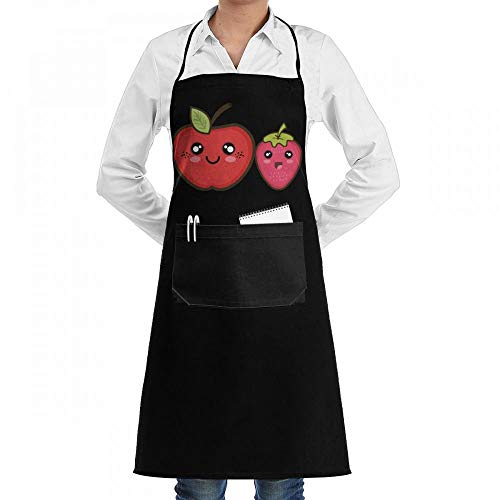 Kawaii Fruit Apple and Strawberry Chef Kitchen Cooking Aprons BBQ Bib Apron with Pockets for Women Men Progressive Apple