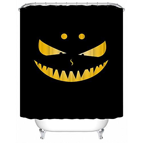 Decorazione della tenda della doccia,cartone animato divertente fantasma faccia gialla su sfondo nero bagno impermeabile delle tende da doccia del tessuto del poliestere della muffa 60