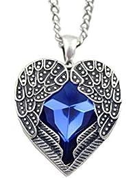 Collier Sautoir Pendentif Cœur Ailé en Cristal de Saphir Bleu Foncé Profondé, Plaqué Argenté Vintage