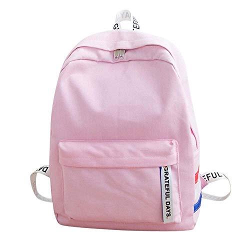 hsy Canvas Unisex Rucksack Rucksack-Spielraum-Rucksack-Schulter-Beutel Studenten Rucksäcke (Color : Pink)
