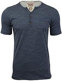Tokyo Laundry - T-shirt - Uni - Col Tunisien - Manches Courtes - Homme bleu bleu
