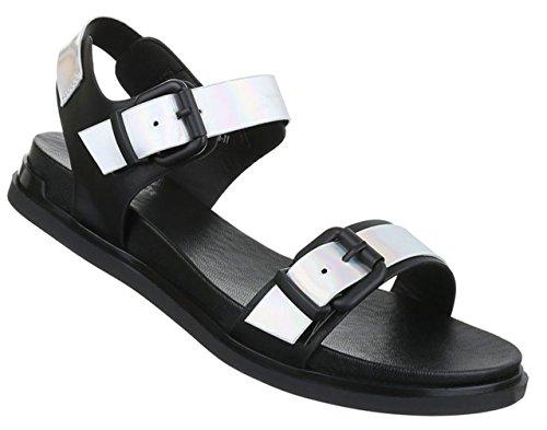 Damen Sandalen Schuhe Sommerschuhe Strandschuhe Bequeme Schwarz 36 37 38 39 40 41 Model Nr1 Schwarz