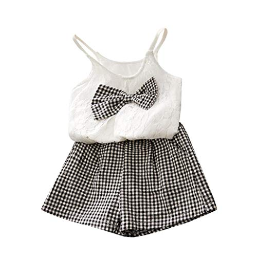 JUTOO 2 Stücke Set Kleinkind Kinder Baby Mädchen Outfits Kleidung Bowknot Weste Tops + Plaid Shorts Hosen Set (Weiß,11/120)