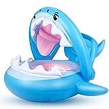 Flotador para Bebé Piscina Tiburón Tabla Hinchable con Inflable Toldo ,Barco...