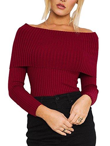 Ufly Damen Sexy Off Shoulder Pullover Langarm Strickpullover Sweater Pulli Langshirt Bluse Top (Königsblau Rüschen Strass Und)