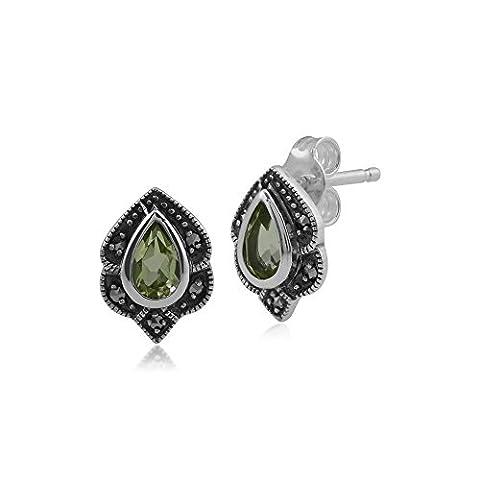 Gemondo Marcasite Earrings, Sterling Silver Peridot & Marcasite Art Nouveau Stud Earrings