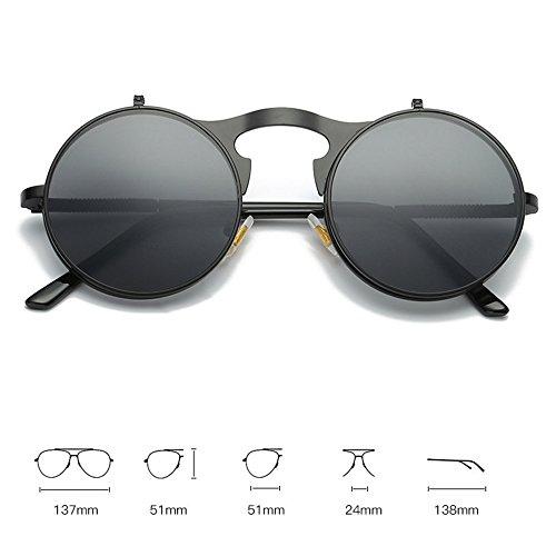 RLJJSH Sonnenbrille Herren Round Lens Lady Bag Retro Sonnenbrille Gothic Steampunk Metal Frame UV400 Sonnenbrille Sonnenbrille (Farbe : Gelb, größe : One Size)