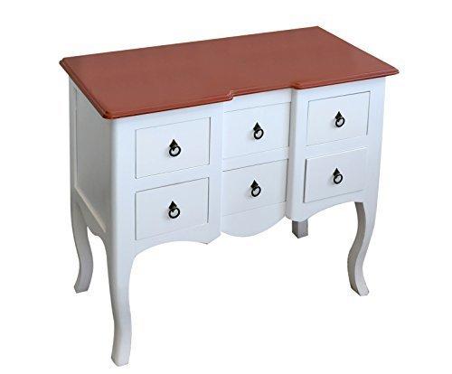 Rebecca srl scrittoio consolle 6 cassetti legno bianco classico ingresso soggiorno camera da letto (cod. 0-7002)