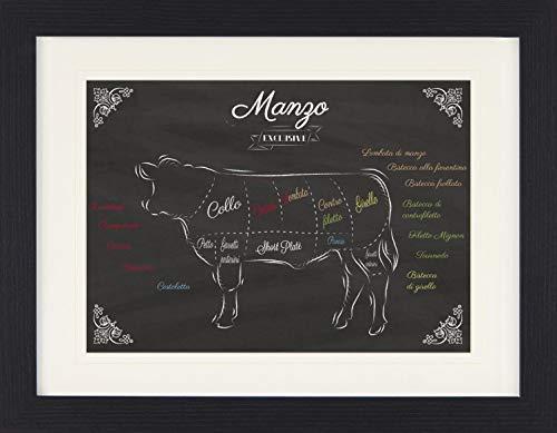 1art1 114276 Kochkunst - I Tagli Del Manzo Gerahmtes Poster Für Fans Und Sammler 40 x 30 cm