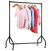 CrazyLynX Clothes Rails on Wheels Metal Heavy Duty Carment Hanging Rack Coat Display Stand For Bedroom, Living Room…